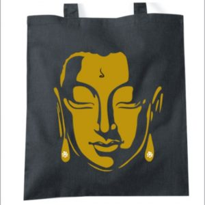 Golden Buddha inspired tote bag