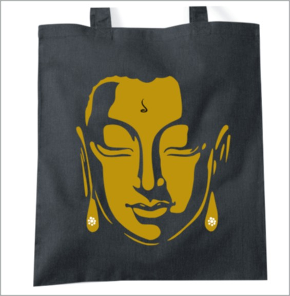Golden Buddha inspired tote bag