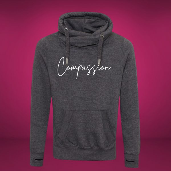 compassion cross neck hoodie