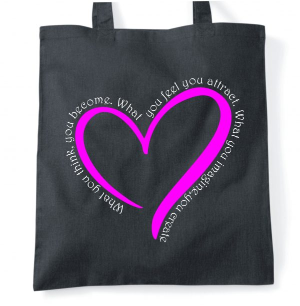 Imagine quote with pink heart tote bag