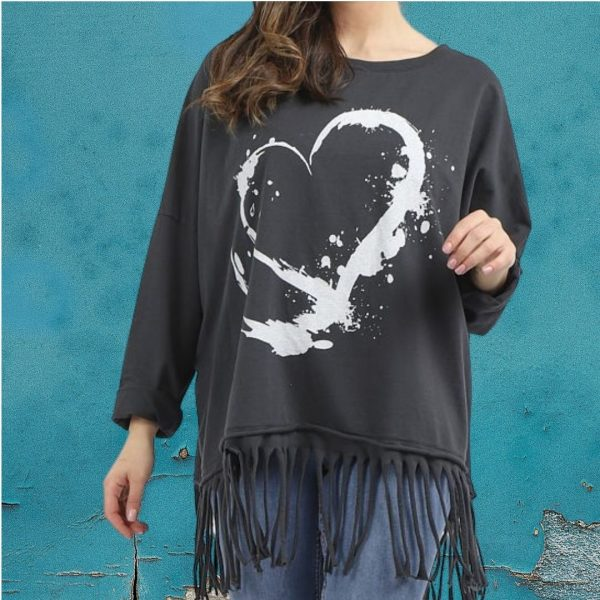 heart fringed top
