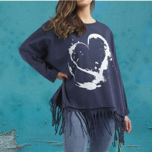 heart fringed top navy
