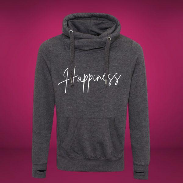 happiness cross neck hoodie