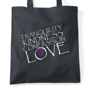 Inspirational quote and Buddha inspired tote bag