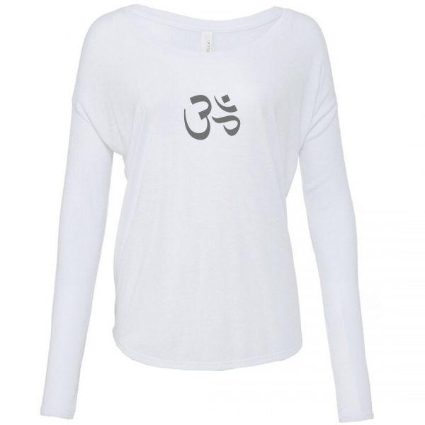 Long sleeve Om tshirt white