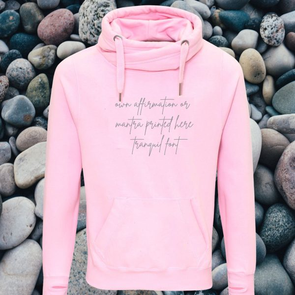 own affirmation cross neck hoodie my happy soul