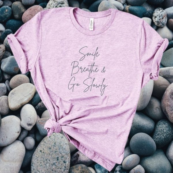 smile and breathe lilac t-shirt